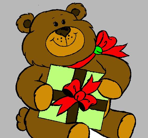 Dibujo de Oso con regalo pintado por Pand en Dibujosnet el da 13