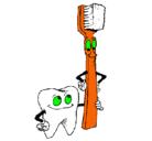 Dibujo Muela y cepillo de dientes pintado por dientes