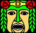 Dibujo Máscara Maya pintado por mascara