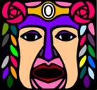 Dibujo Máscara Maya pintado por patitofeo