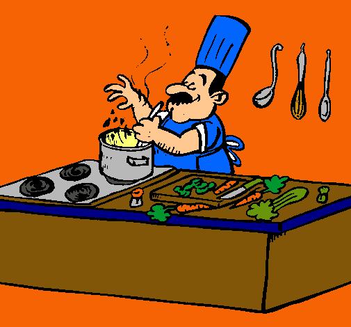 Dibujo De Una Cocina | Dibujo De Cocinero En La Cocina Pintado Por Cocina En Dibujos Net