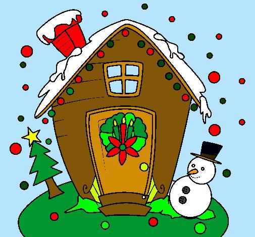 Dibujo de postal de navidad pintado por casita en dibujos - Casitas de nacimientos de navidad ...