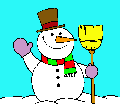 Dibujo de mu eco de nieve con escoba pintado por nieve en - Munecos de nieve para dibujar ...