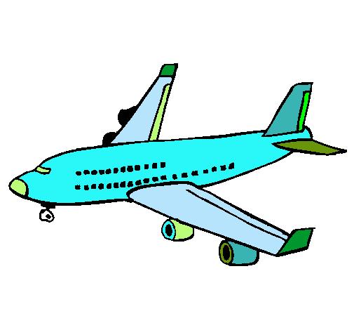 Dibujo de Avin de pasajeros pintado por Sergio12345 en Dibujos