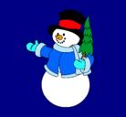 Dibujo muñeco de nieve con árbol pintado por goku