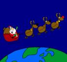 Dibujo Papa Noel repartiendo regalos 3 pintado por goku