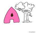 Dibujo Árbol pintado por letra A