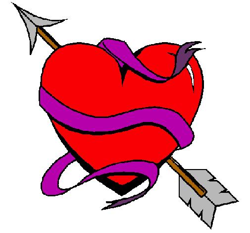 Dibujo de Corazón con flecha pintado por Facil en Dibujos.net el ...