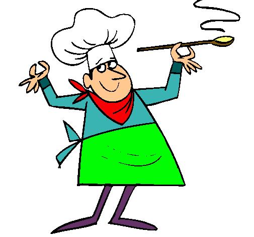 Dibujo de cocinero ii pintado por comida en el for Dibujos para comedor escolar