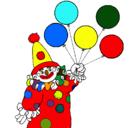 Dibujo Payaso con globos pintado por payaso