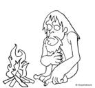 Dibujo Descubrimiento del fuego pintado por grab