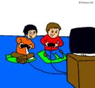 Dibujo Niños jugando pintado por play