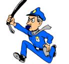 Dibujo Policía corriendo pintado por cruel
