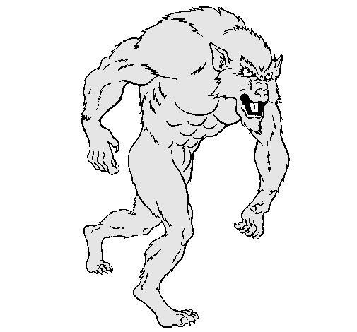 Dibujo de Hombre lobo pintado por Sdfghjkhgf en Dibujosnet el da