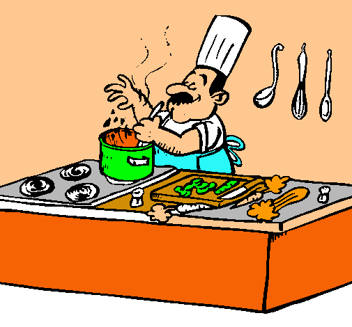 Dibujo de cocinero en la cocina pintado por esperez en for Herramientas de un cocinero