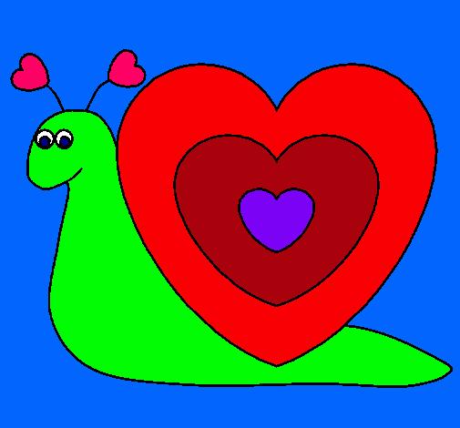 Dibujo de Caracol corazn pintado por Mikimaus en Dibujosnet el