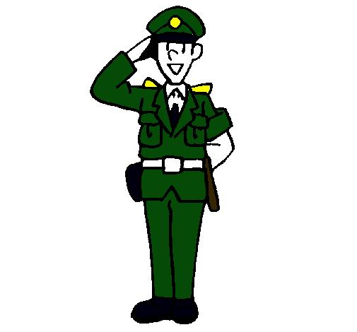 Dibujo de Polica saludando pintado por Policia en Dibujosnet el