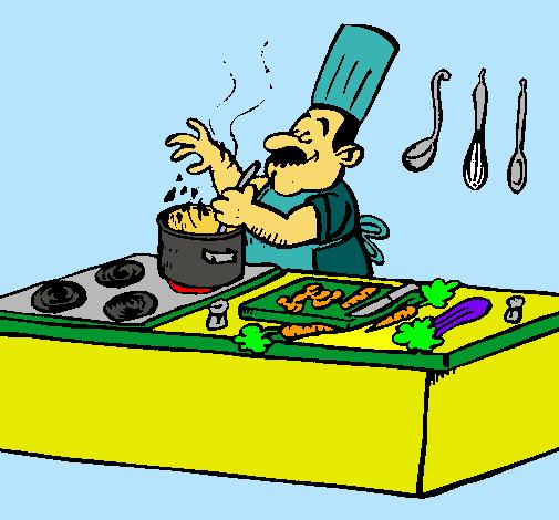Dibujo de cocinero en la cocina pintado por cook en for La cocina de dibujos pdf