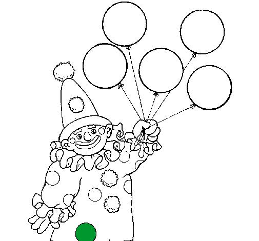 Dibujo de Payaso con globos pintado por Carantonio en Dibujosnet