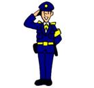 Dibujo Policía saludando pintado por policia