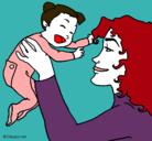 Dibujo Madre con su bebe pintado por grachi