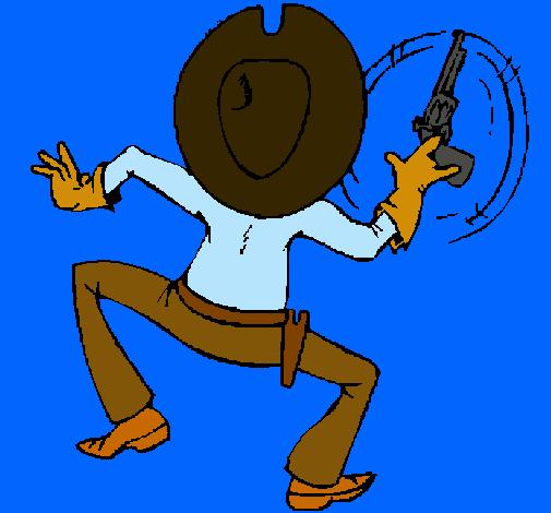 Pistolero de espalda