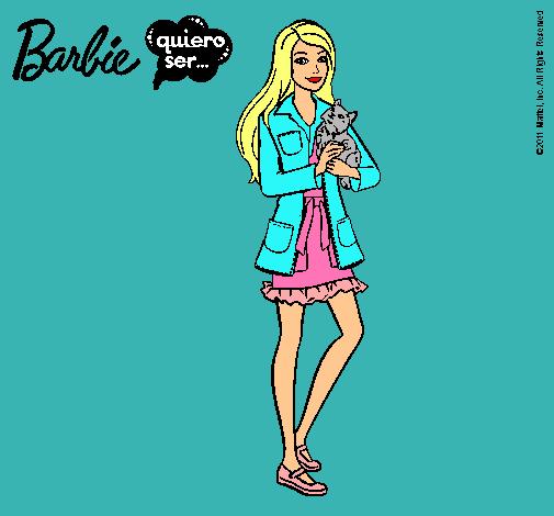 Dibujo de Barbie con un gatito pintado por Camizalda en Dibujos