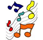Dibujo Notas en la escala musical pintado por pepa