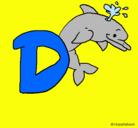 Dibujo Delfín pintado por letras