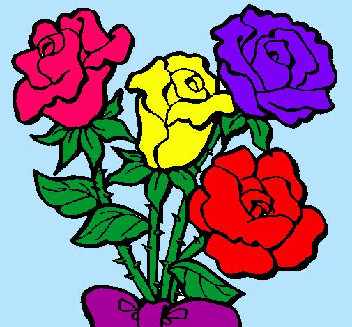 Dibujo de Ramo de rosas pintado por Bonitas en Dibujos.net el día ...