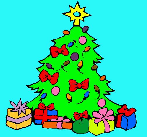Dibujo de rbol de navidad pintado por regalos en dibujos - Arbol de navidad con regalos ...