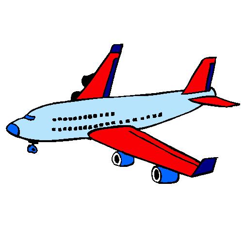 Dibujo de Avin de pasajeros pintado por Avion en Dibujosnet el