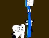Dibujo Muela y cepillo de dientes pintado por colina