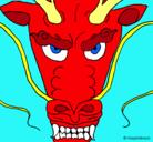 Dibujo Cabeza de dragón pintado por momita