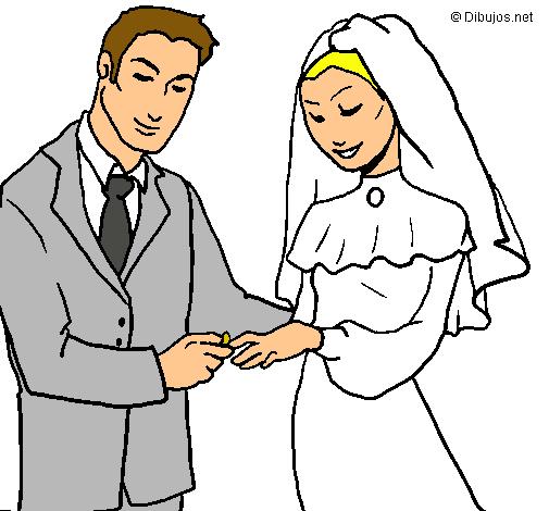 Matrimonio Catolico Dibujo : Dibujo de intercambio alianzas pintado por matrimonio