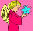 Dibujo Ángel y estrella pintado por blusa