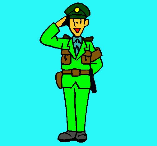 Dibujo de Polica saludando pintado por Carabineros en Dibujosnet