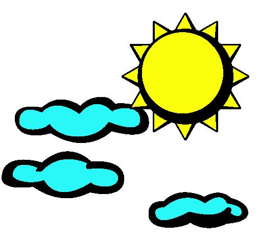 Dibujo de Sol y nubes 2 pintado por Vicosmom en Dibujosnet el da