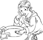 Dibujo Niño lavándose los dientes pintado por ffgf