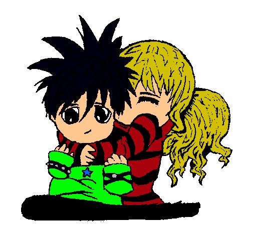 Dibujo de Pareja de enamorados 6 pintado por Emos en Dibujosnet