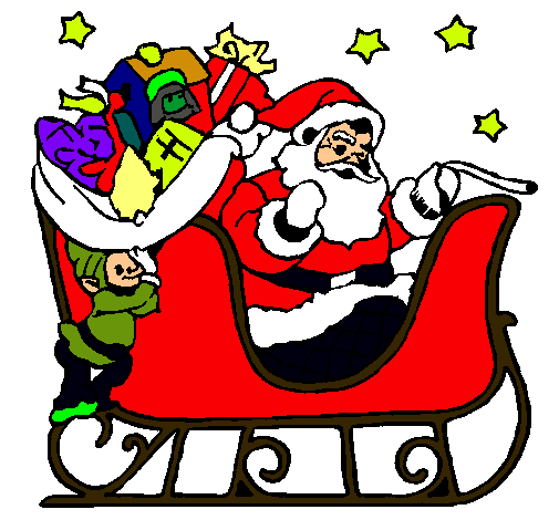 Dibujo de Papa Noel en su trineo pintado por Manuxx en Dibujos.net ...
