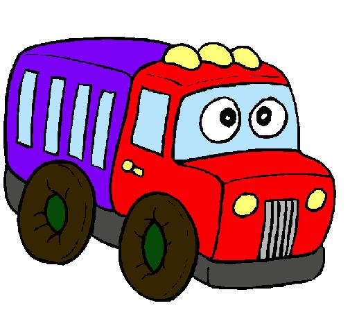 Dibujo de cami n pintado por carrito en el d a for Carritos con ruedas para cocina