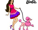 Dibujo Barbie paseando a su mascota pintado por veterinaria