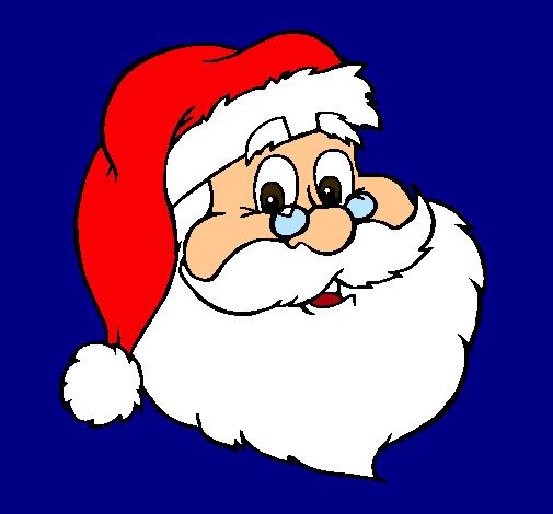 Dibujo de cara de pap noel pintado por color en dibujos - Dibujos de navidad en color ...