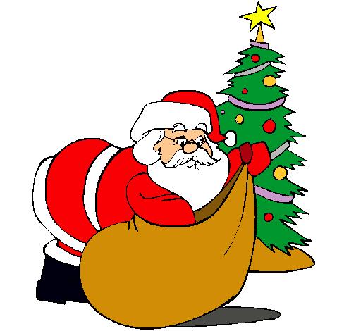 Dibujo de papa noel repartiendo regalos pintado por color - Dibujos navidad en color ...