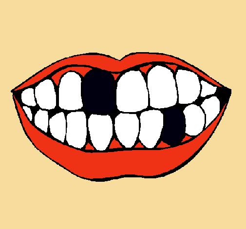 Dibujo de Boca y dientes pintado por Bia2000 en Dibujosnet el da