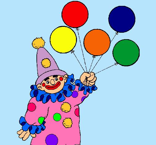 Dibujo de Payaso con globos pintado por Anamato en Dibujosnet el