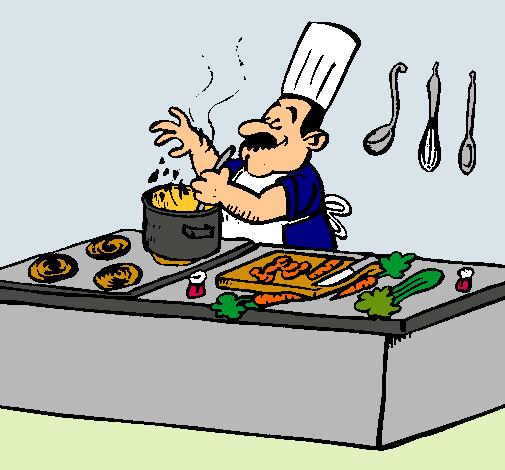 Dibujo de cocinero en la cocina pintado por mariafe en for Dibujos sobre cocina