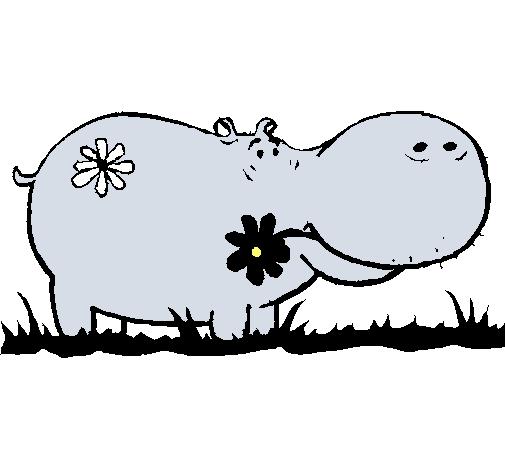 Dibujo de Hipopótamo con flores pintado por Michi44 en Dibujos.net ...
