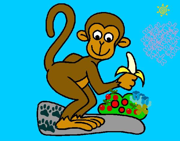 Dibujo de mono pintado por Solonieves en Dibujosnet el da 3112